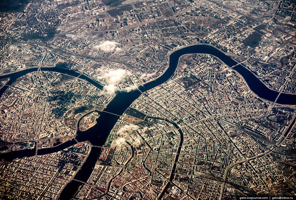 Питерские мосты и каналы с высоты 10 км.