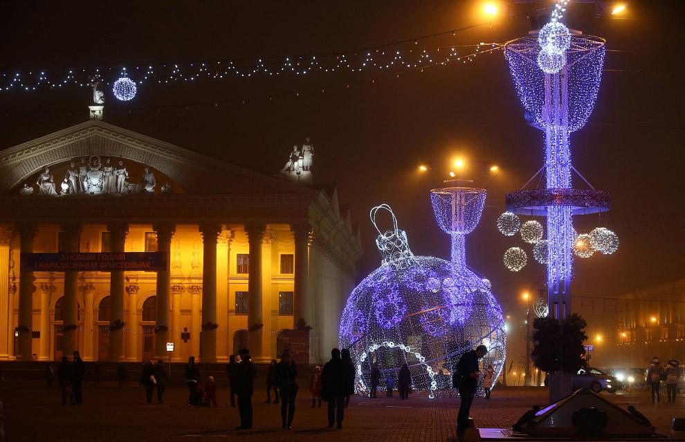 Новогодняя иллюминация в Минске