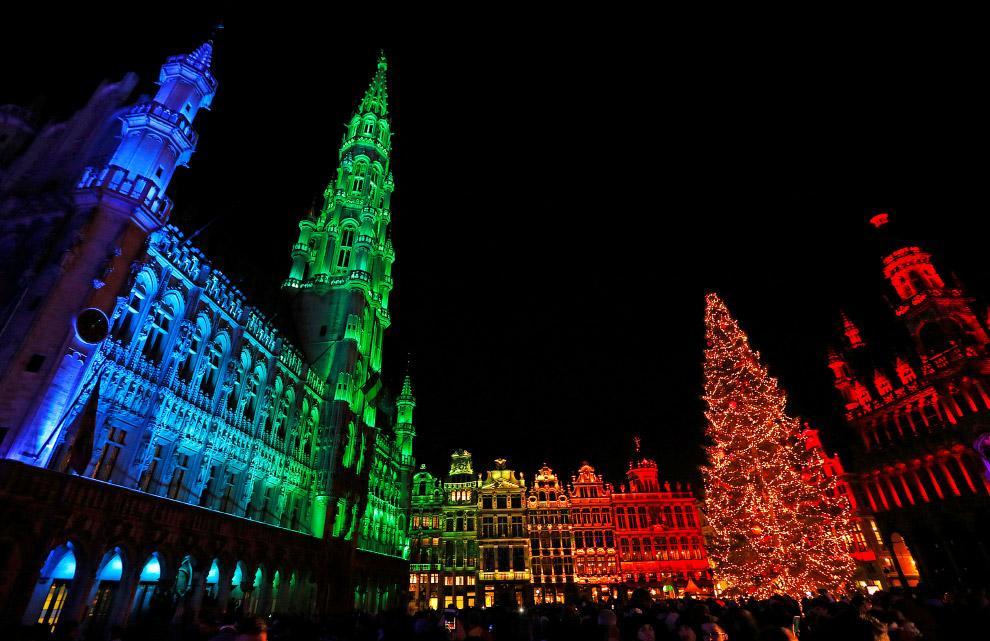 Световое шоу в центре Брюсселя