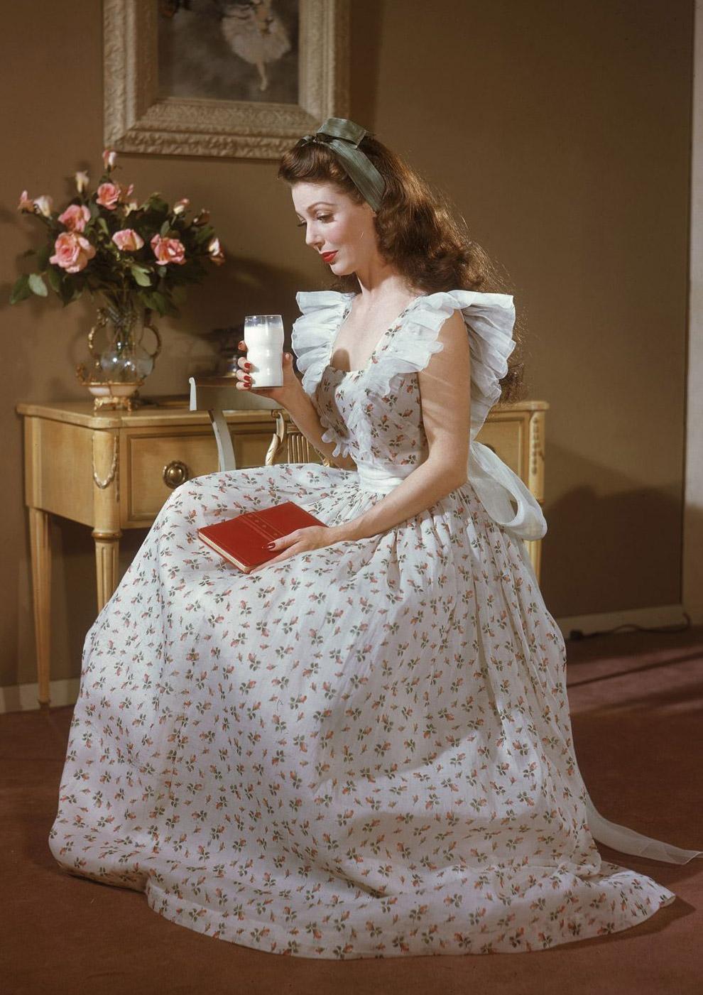 Актриса Лоретта Янг в роли фермерской дочки за которую она получила Оскара. Фото Боб Лэндри, 1948 год.