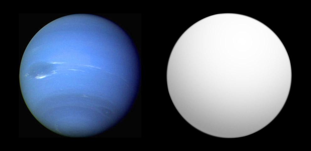 Сравнение Глизе 436 b (справа) с Нептуном