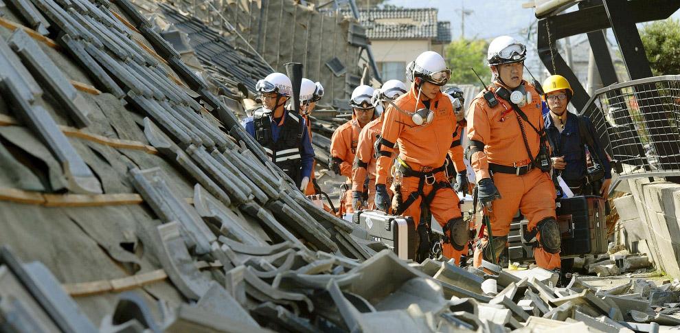 В апреле на японском острове Кюсю произошла серия землетрясений