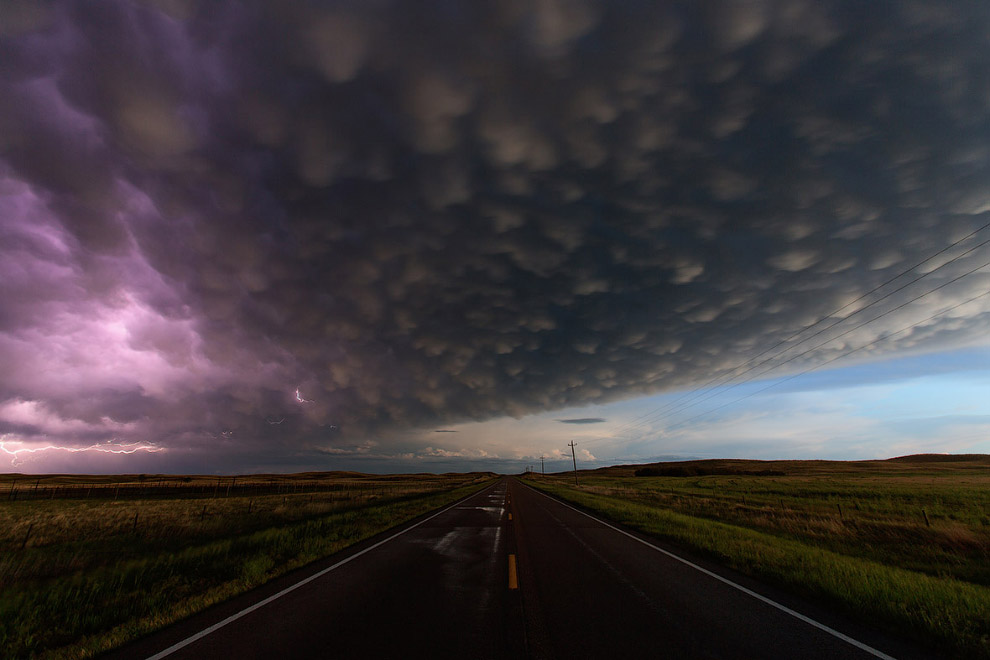 Вымяобразные облака в Небраске