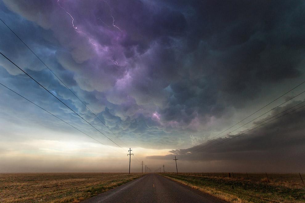 Вымеобразные облака в Техасе