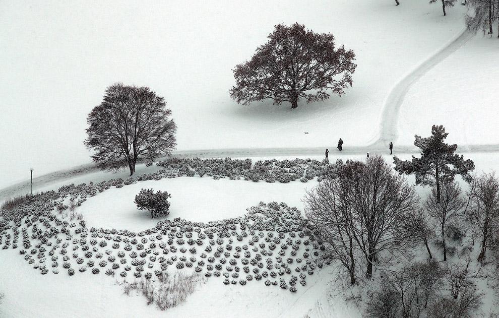 Зимний Олимпийский парк после снегопада в Мюнхене, Германия
