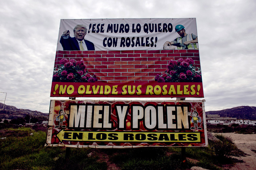 Рекламный баннер с Трампом на северо-западе Мексики