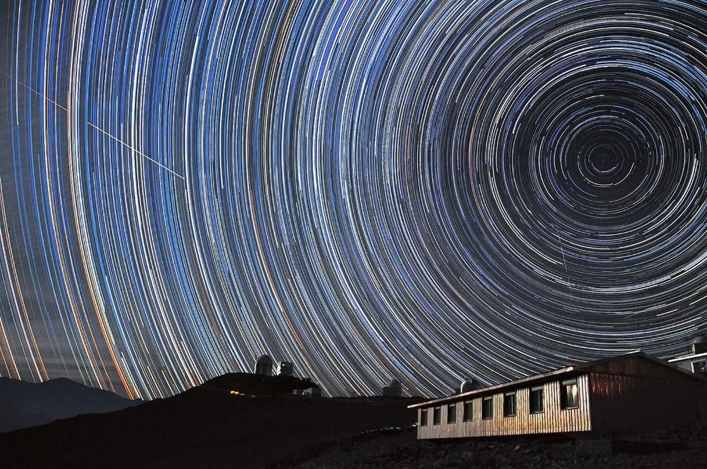 Звёздные треки в обсерватории Ла-Силья