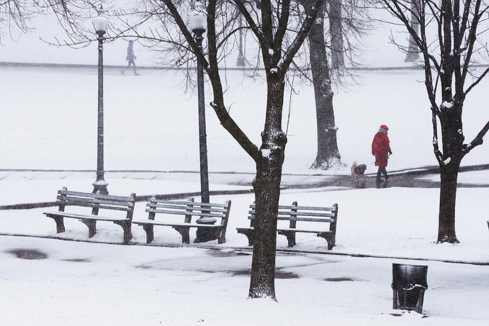 Снежный Бостон, штат Массачусетс