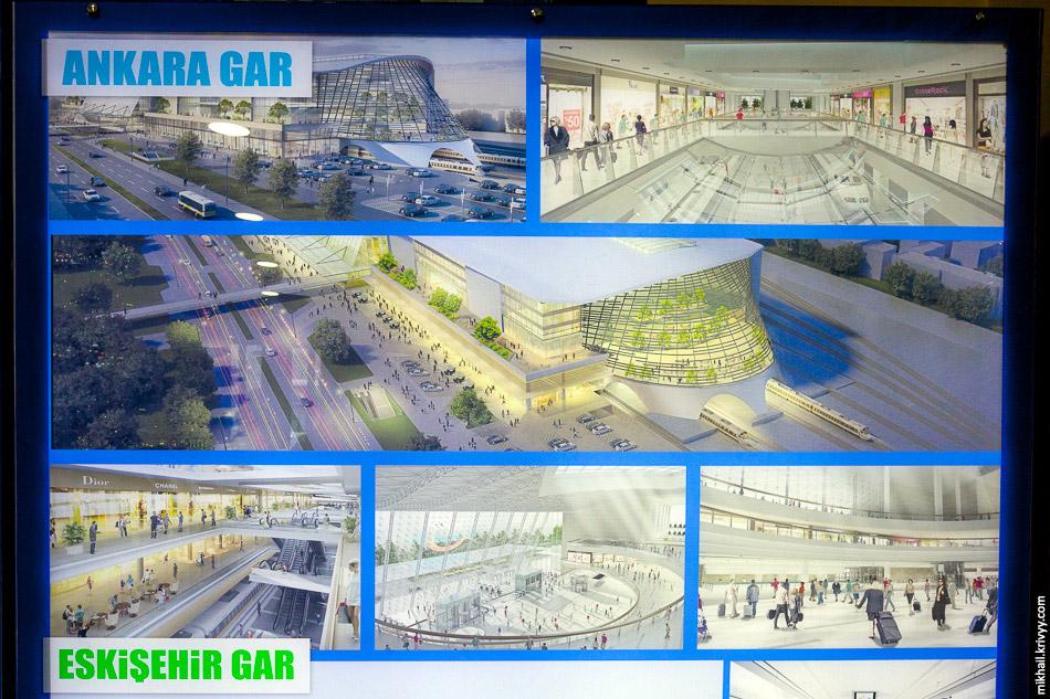 Рендери майбутніх вокзалів з плаката на вокзалі Коньї.  Вокзал Анкари вже добудований.