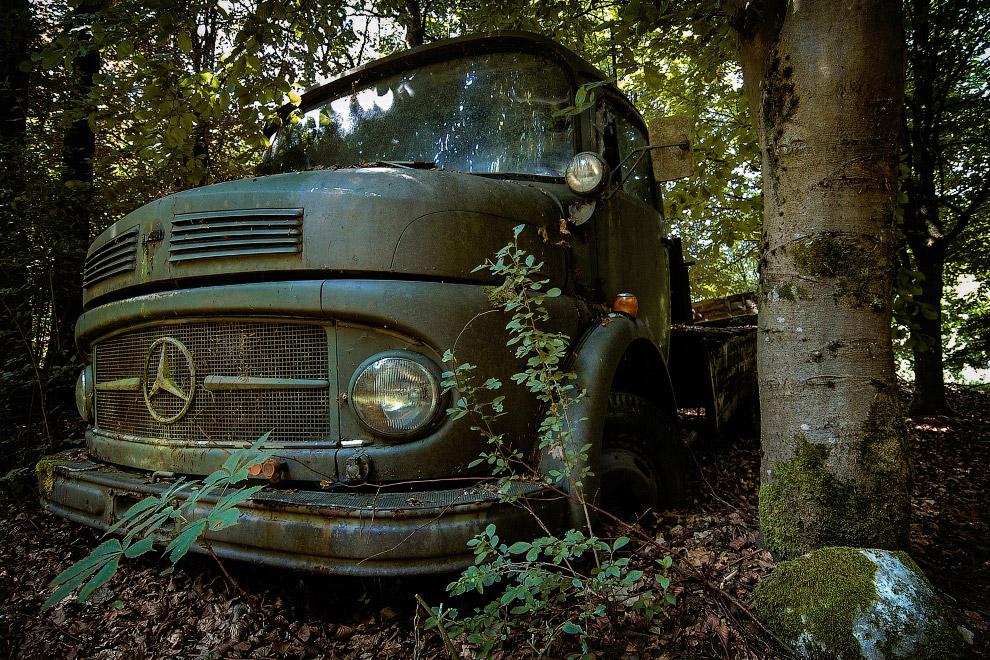 В лесу загрустил самосвал Мерседес-Benz L 710