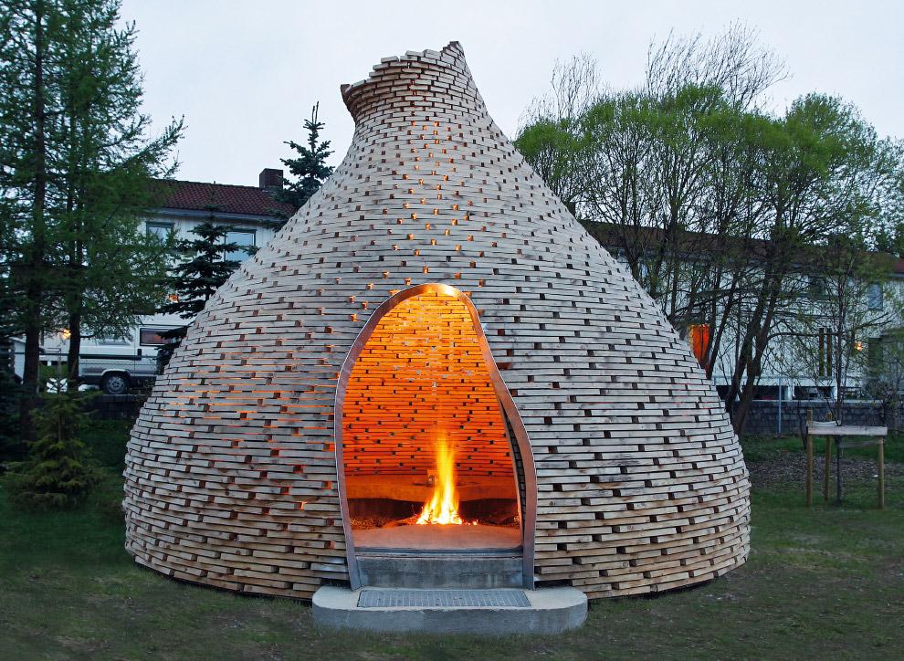Деревянный камин в Тронхейме, Норвегия