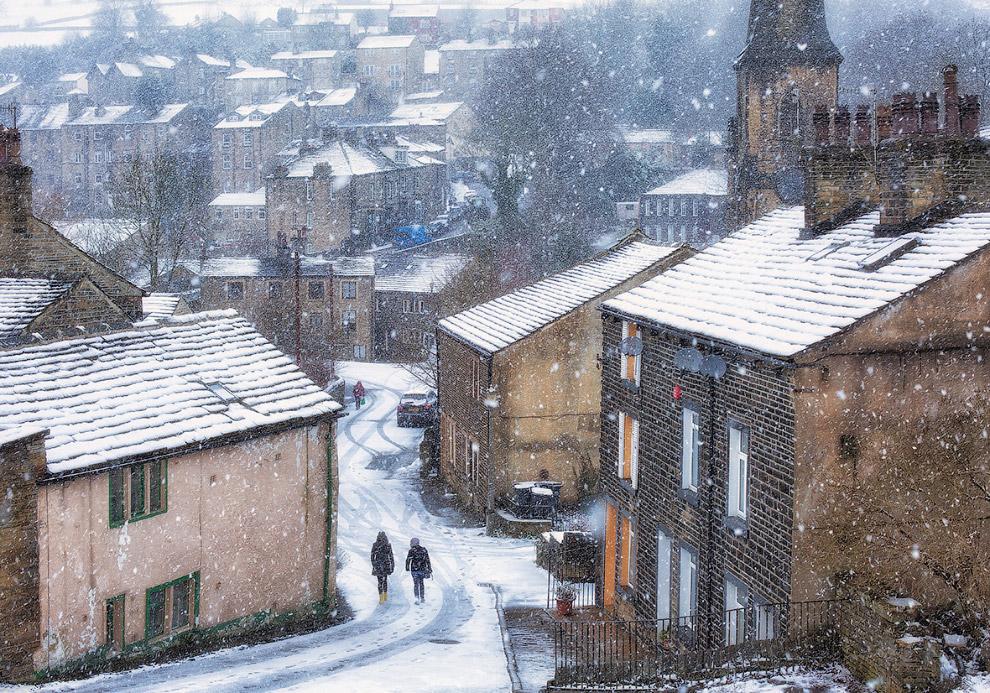 Снегопад в Западном Йоркшире, Англия