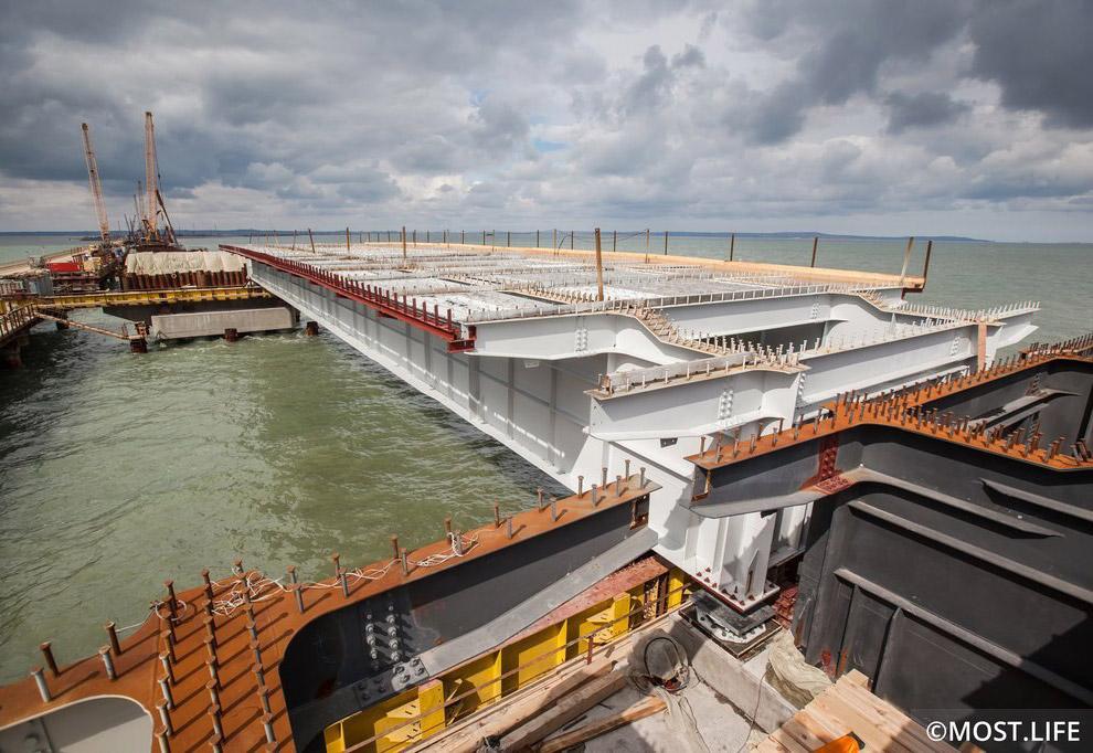 Участок строительства моста между Тузлинской косой и одноименным островом.