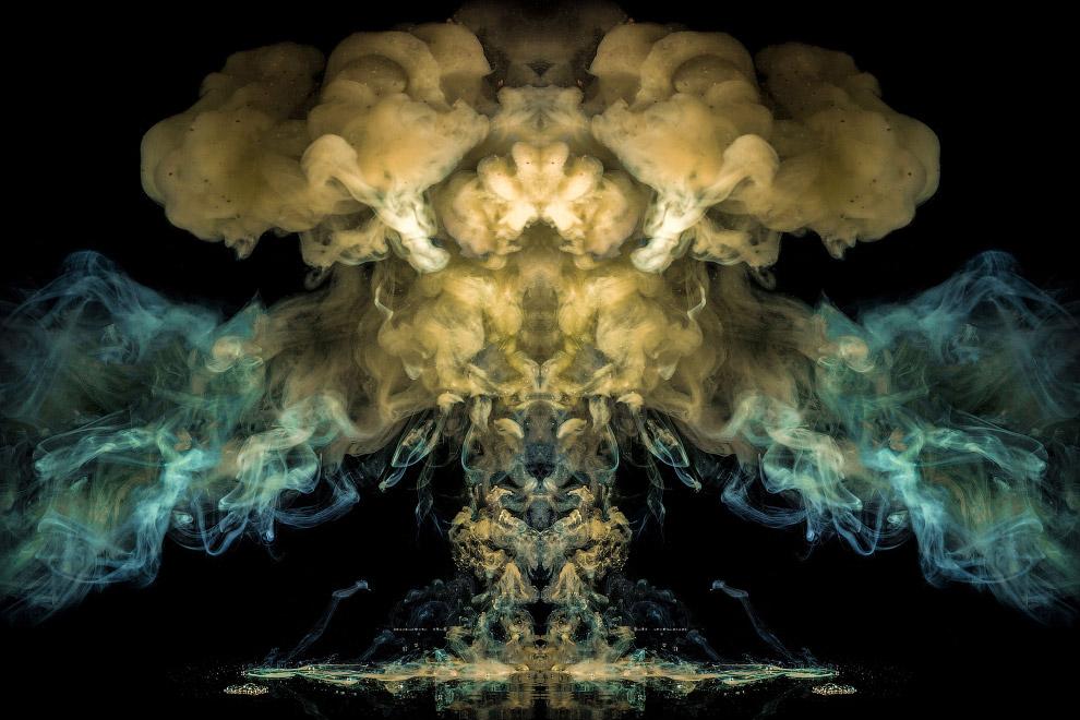 Взрывные произведения искусства с чернилами