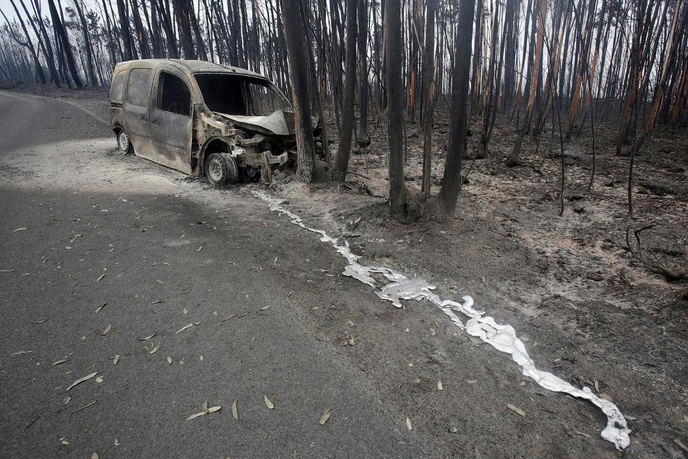Еще одна сгоревшая машина в лесу