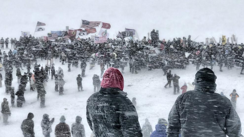 Протесты против строительства трубопровода в в Северной Дакоте