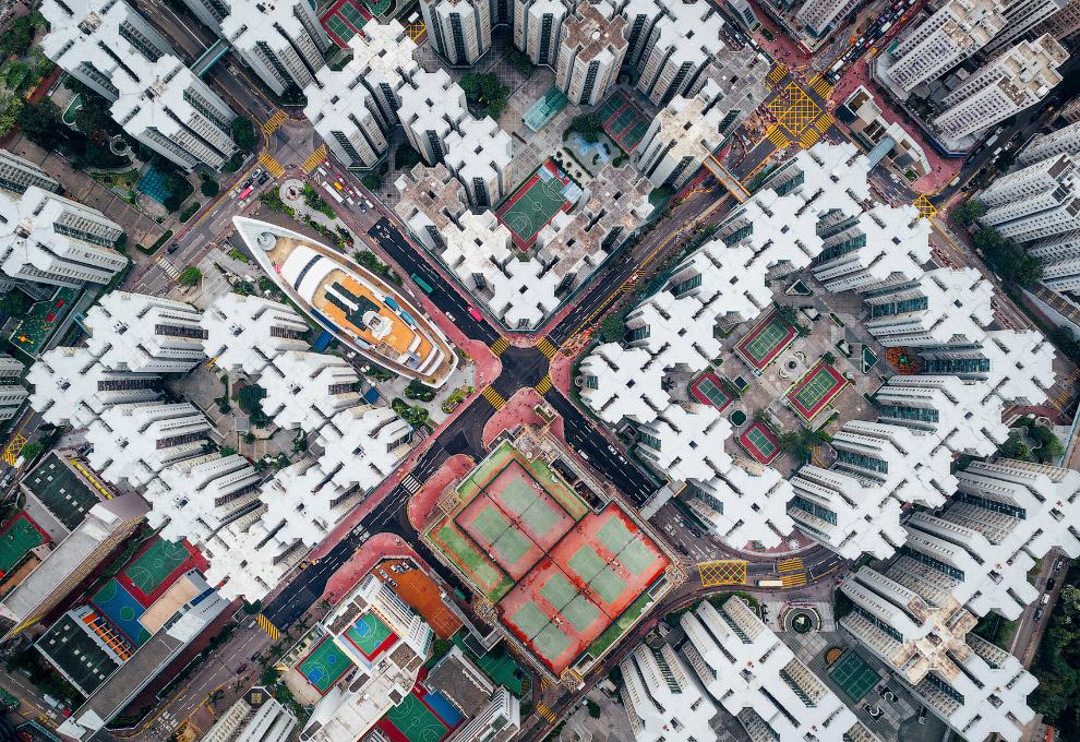 Город Коулун с высоты