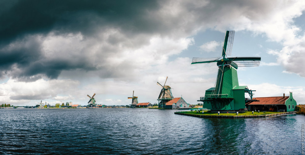 Panoramic view of Authentic Zaandam mills in Zaanstad village on the river Zaan.