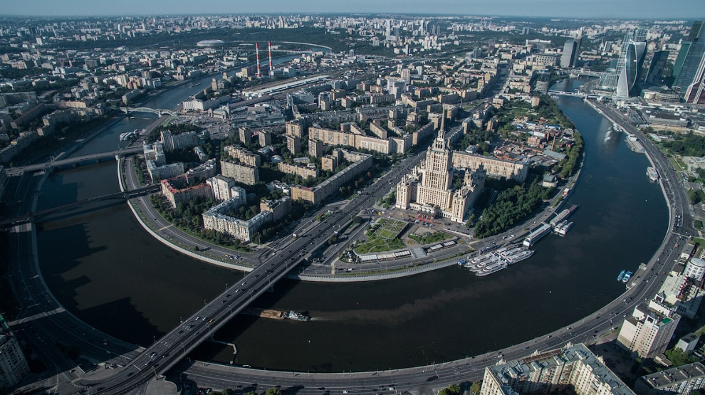Вид на Новоарбатский мост и гостиницу «Украина»
