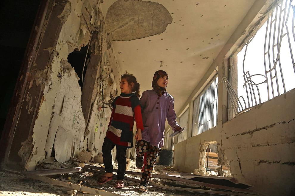Школьные коридоры на окраине Дамаска