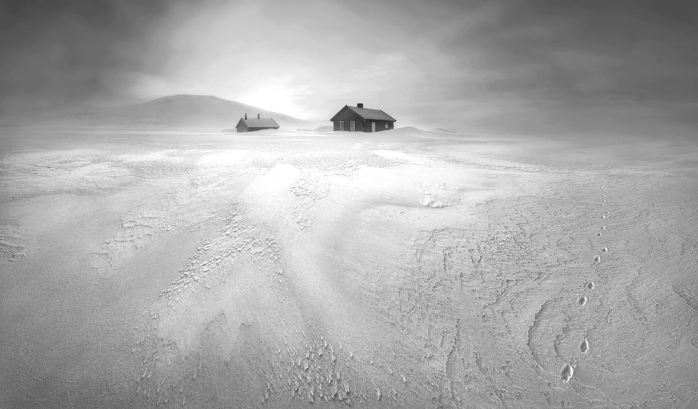 Национальный парк Хардангервидда, Норвегия. Домики и следы песца (справа)