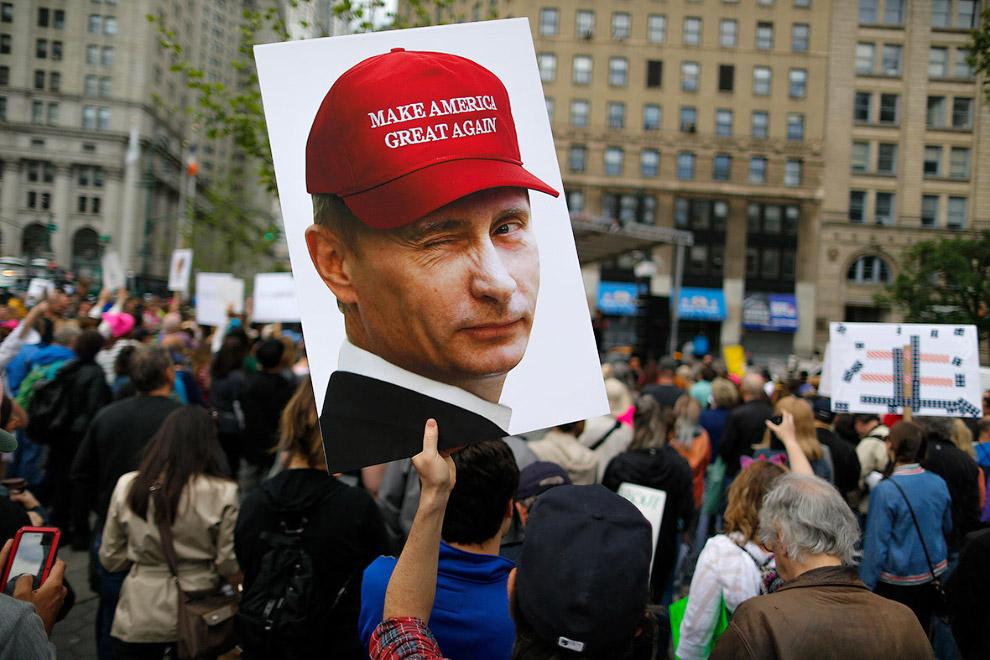 Троллинг Трампа с портретом Путина