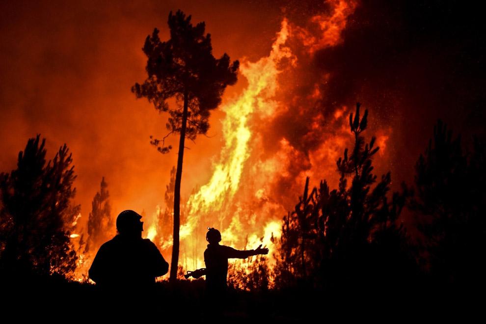 Лесной пожар в деревне Вале-де-Абельха в Макао, Португалия