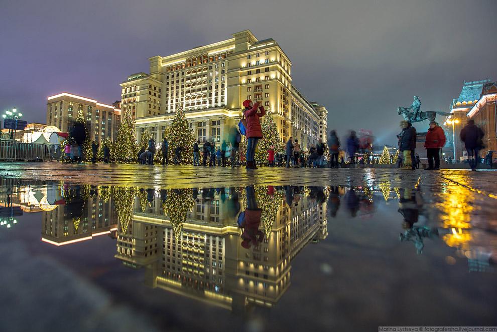 Московская зима с лужами