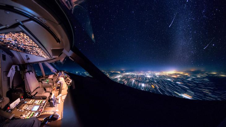 Виды из кабины пилота Boeing 747