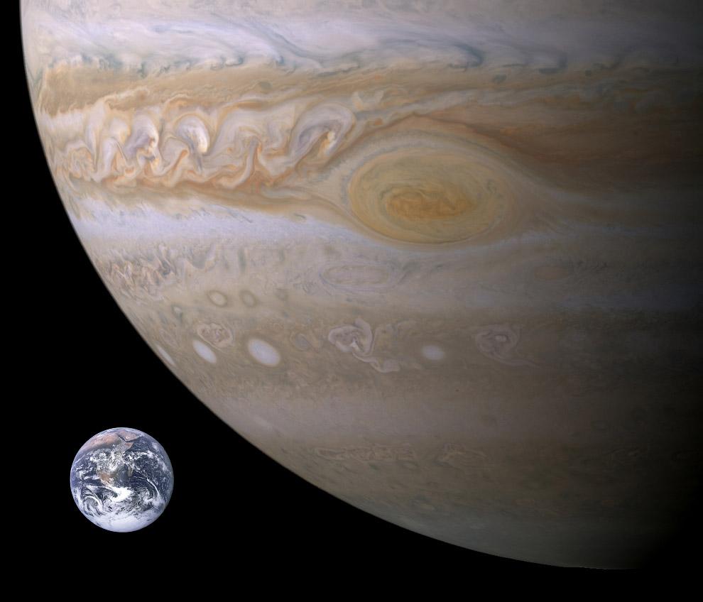 Земля и Юпитер могли бы выглядеть примерно так вместе