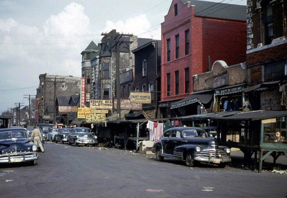 Maxwell Street, Chicago.  1953 rok.