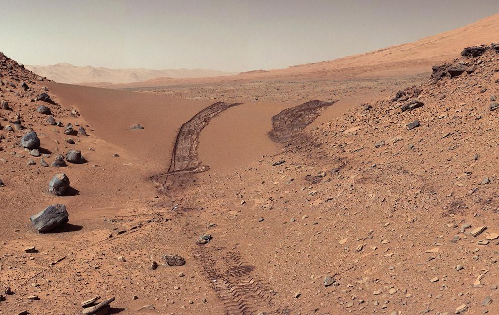 Взгляд на путь, который проделал марсоход
