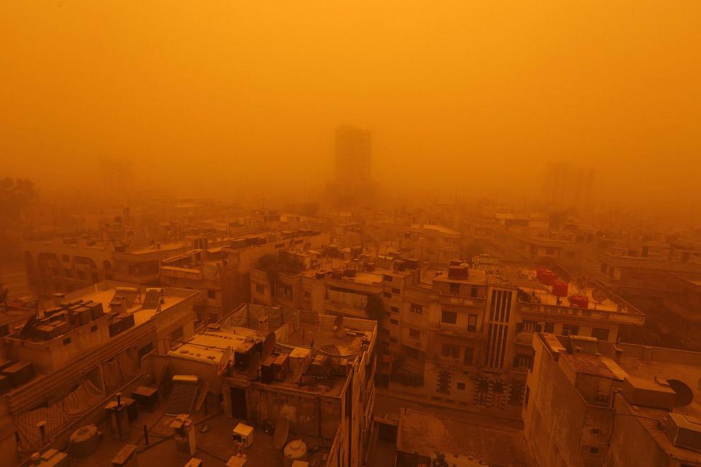 Песчаная буря в Хомсе, Сирия