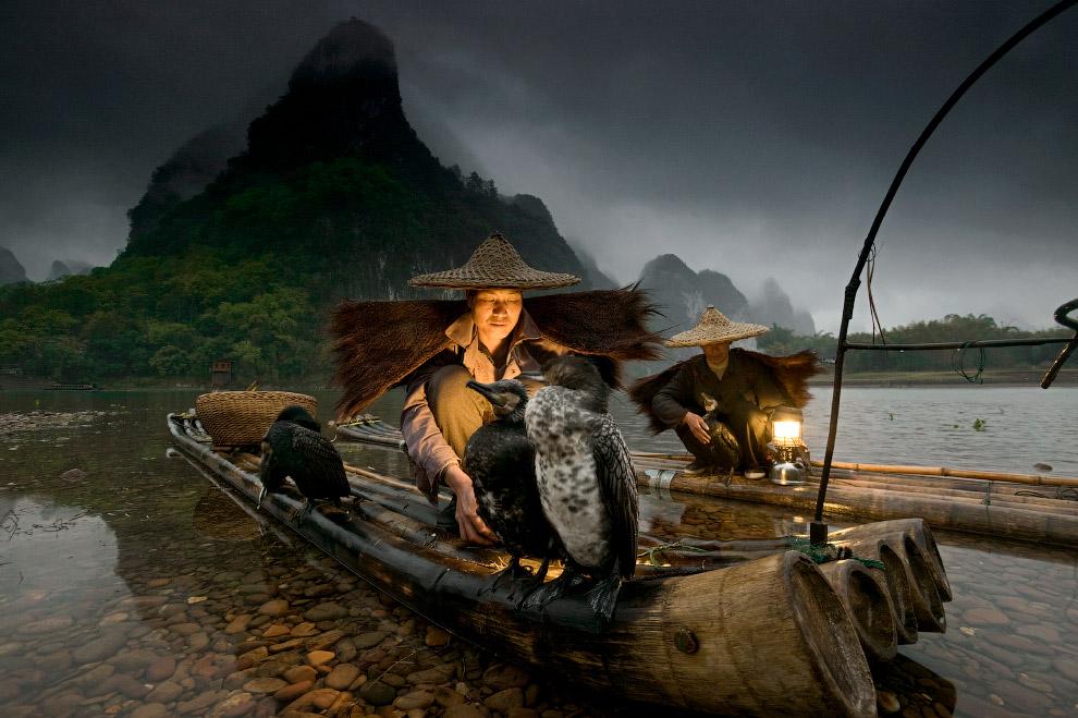 Рыбаки с фонариками и бакланы, Китай