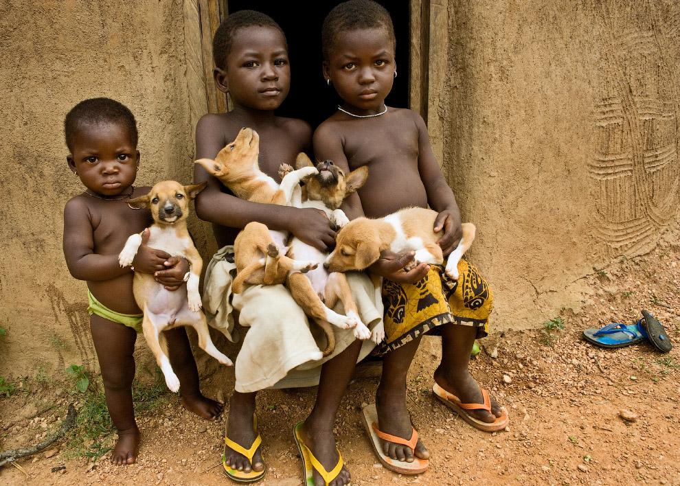 Дети и щенята, Бени́н, Западная Африка
