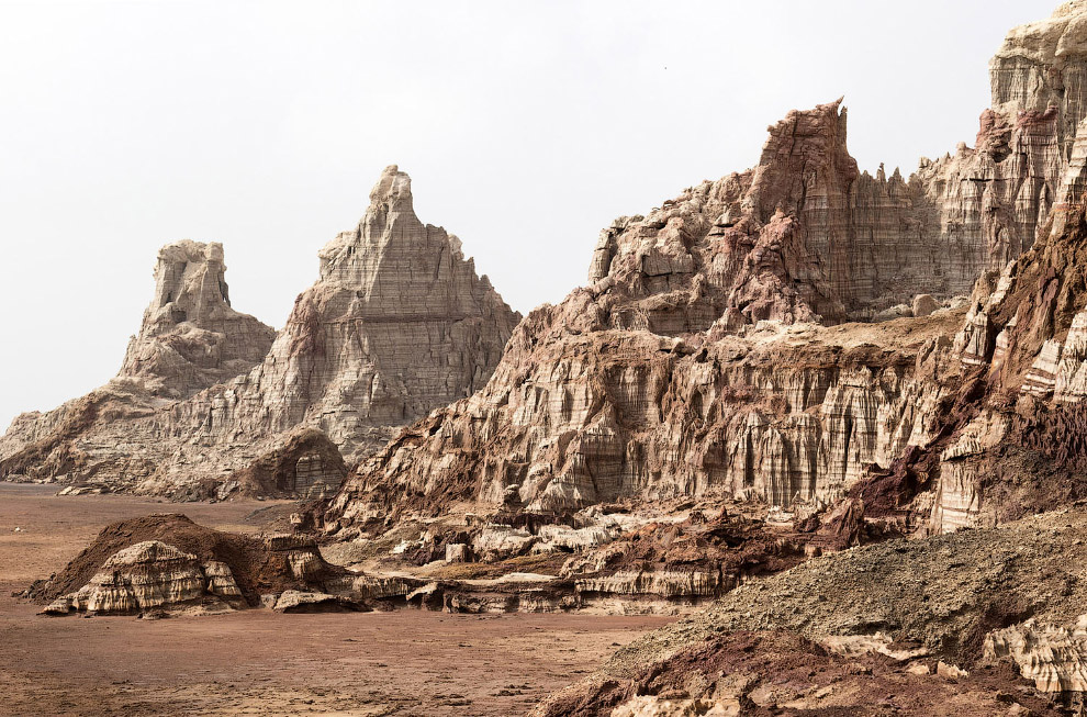 Соляные горы вулкана Даллол в Эфиопии