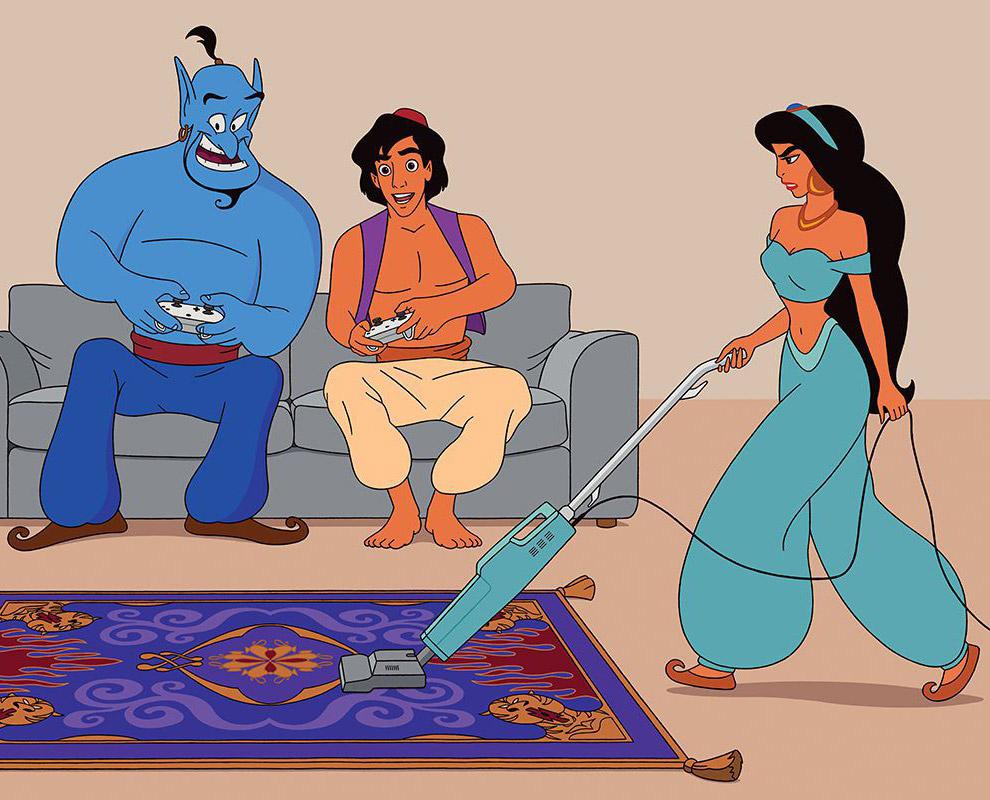 Алладин с джином играют в PlayStation и невеста Аладдина — принцесса Жасмин