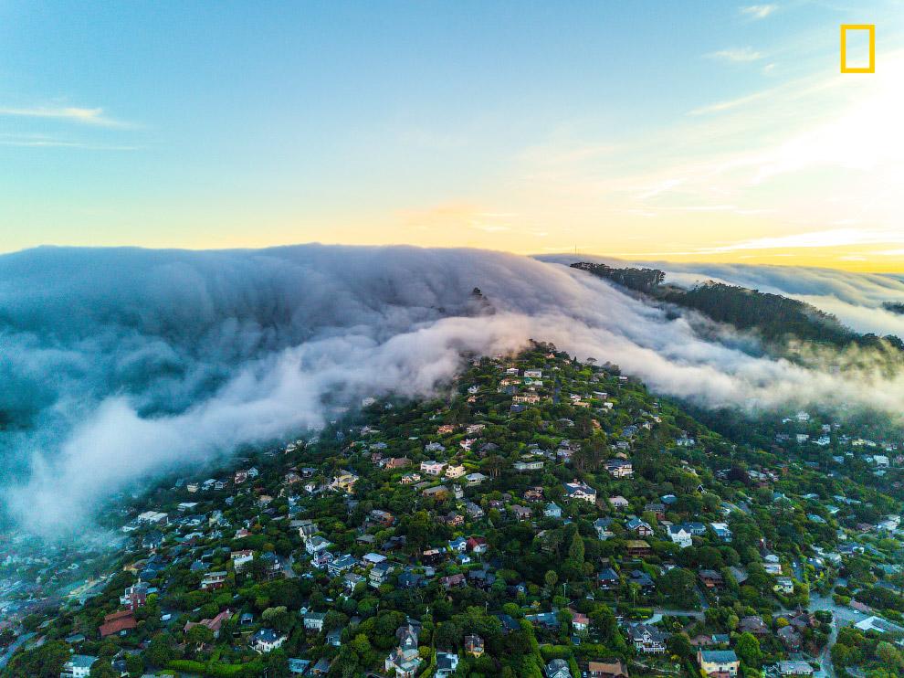 Туман на закате в Калифорнии