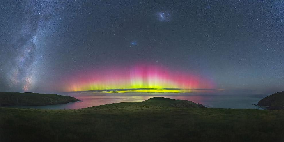 Буйство красок и звездное небо вблизи Крайстчерча, Новая Зеландия