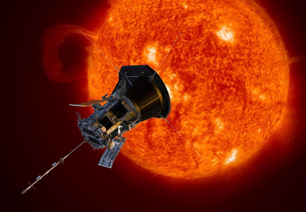 Зонд «Паркер» и Солнце. Официальный рендер NASA