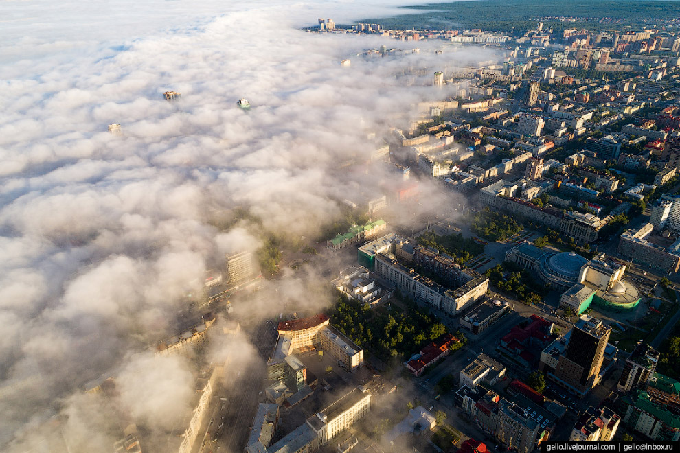 Туман над центром города.