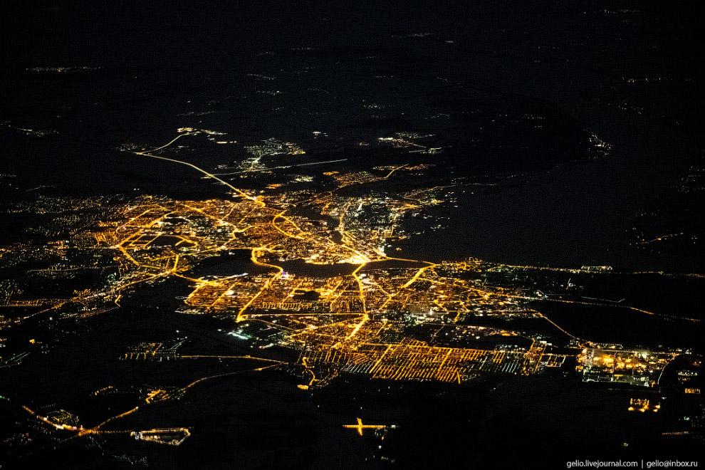 Ночная Казань — столица Татарстана.