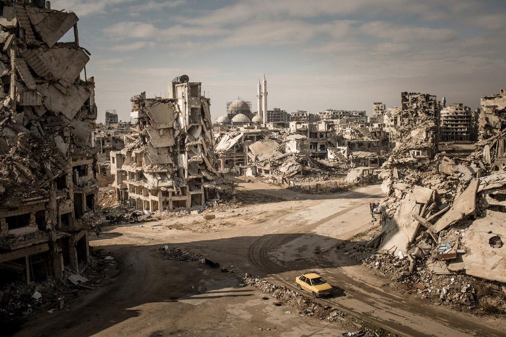 Разрушенный район Халидия в Хомсе, Сирия