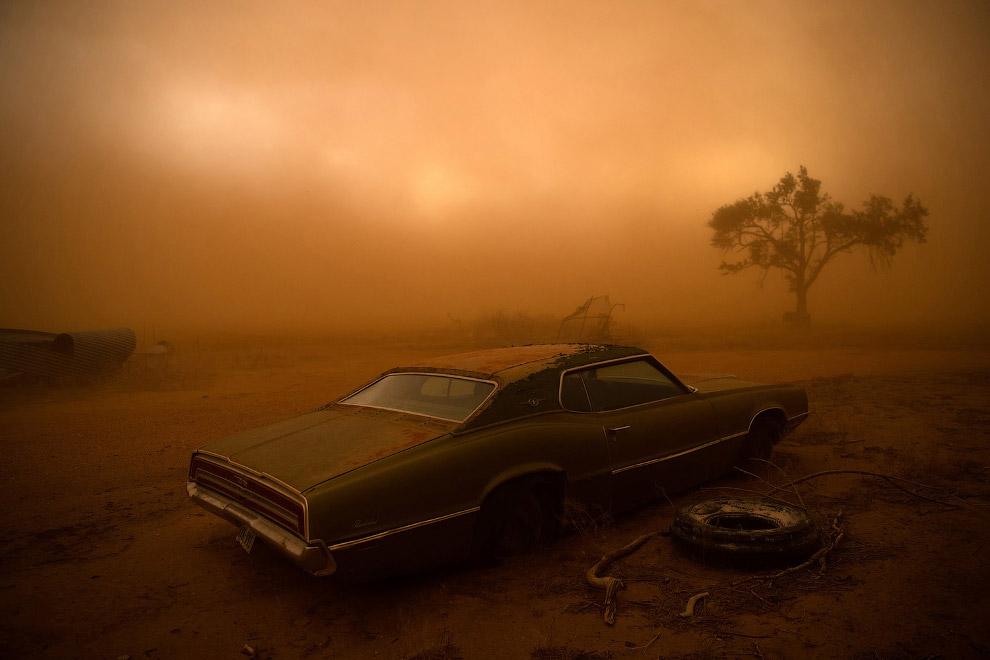 Песчаная буря и торнадо в штате Техас
