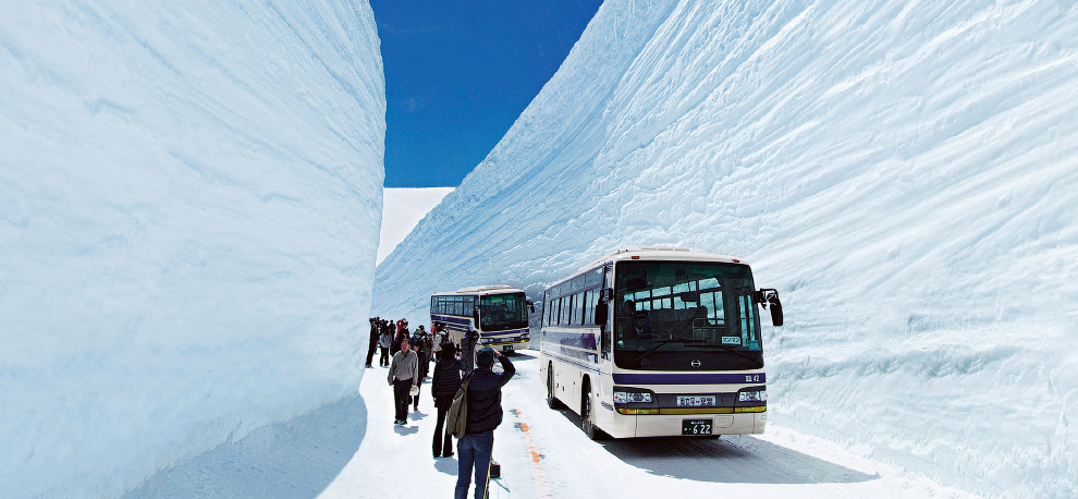 TATEYAMA, JAPAN - MAY 10, 2014: Unidentified tourists walk along snow corridor on Tateyama Kurobe Alpine Route, Japanese Alp in Tateyama, Japan