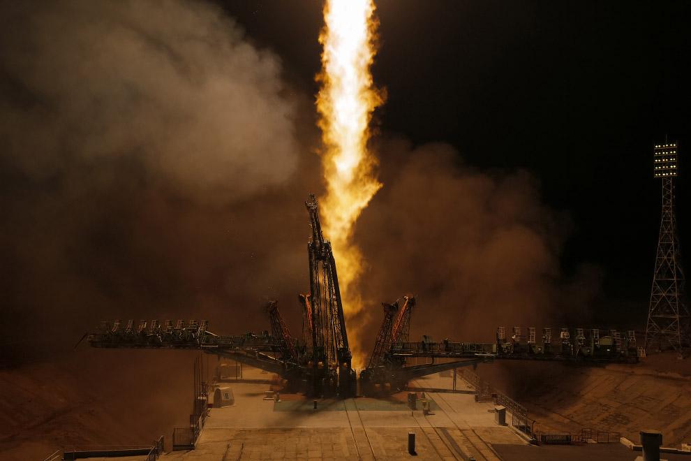 Старт космического корабля «Союз МС-12» с космодрома Байконур