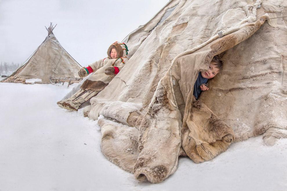 Діти в чумі на півострові Ямал