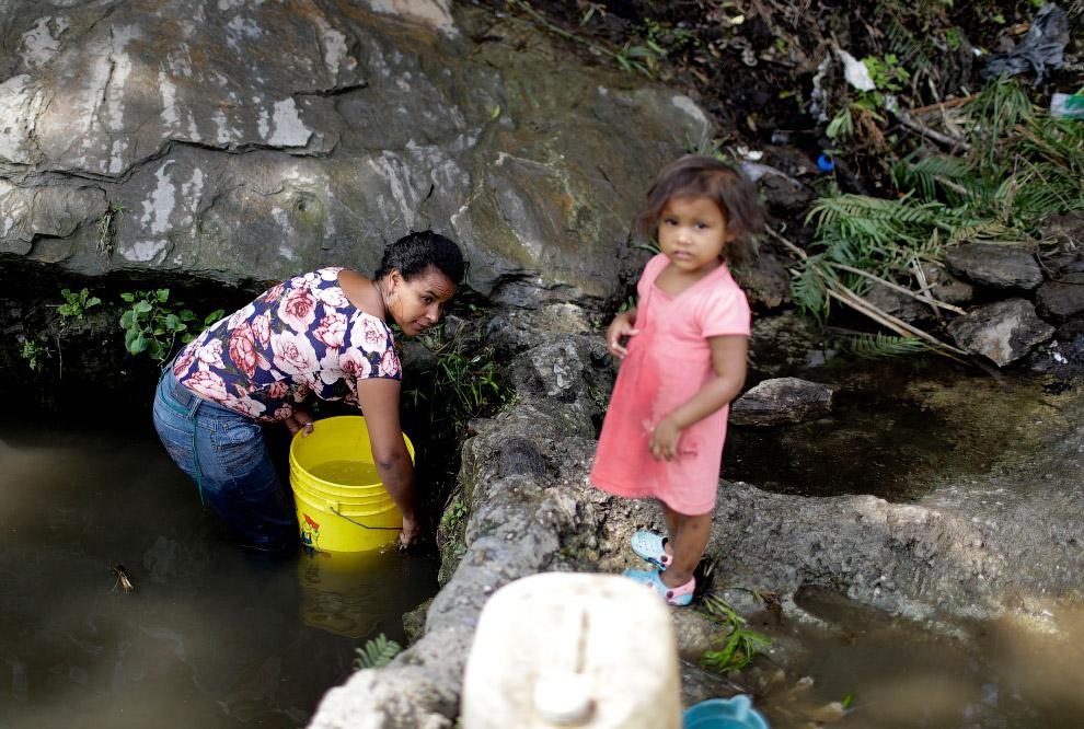 Некоторые набирают воду из ручьев