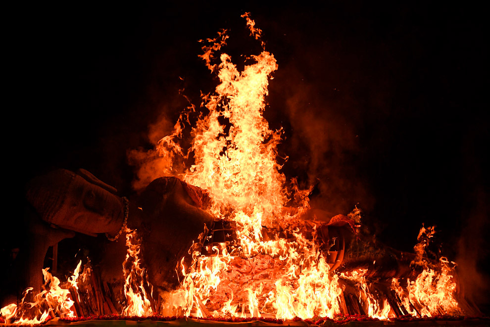 Сжигание статуи Будды во время церемонии праздника Весак в Восточный Яве