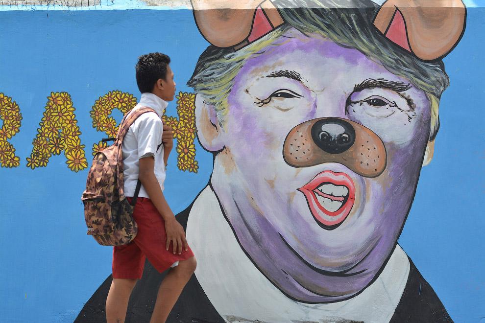 Граффити на стене в Сулавеси, Индонезия